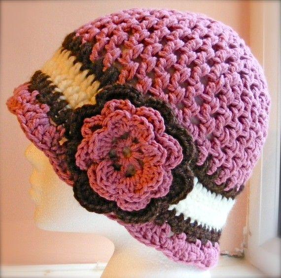Ladies Cloche Hat Crochet Pattern Hat With Flower Ladies Medium