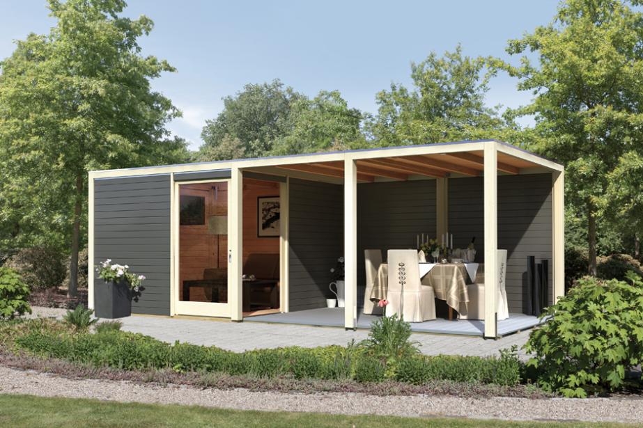 gartenhaus karibu cubus mit eckt r holz haus bausatz beispiel anbauvariante mit 2 pavillon. Black Bedroom Furniture Sets. Home Design Ideas