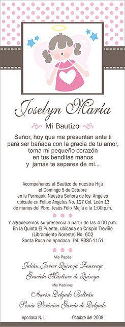 Invitacion Bautizo Joselyn Invitaciones Bautizo Oraciones