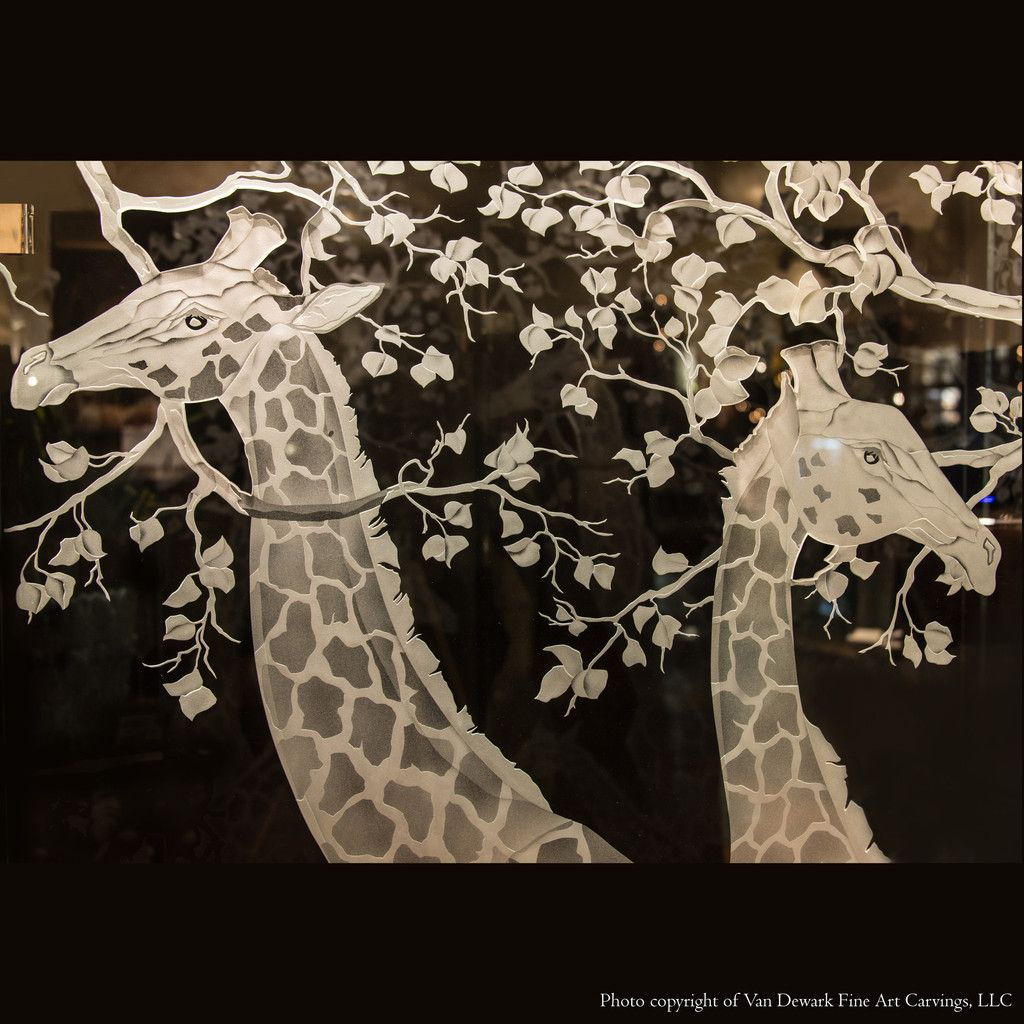 Hand carved by Erika Van Dewark safari and wildlife artist specializing in etched glass. Privacy screen art screen would make great etched shower doors ... & Glass Giraffe Screen. Hand carved by Erika Van Dewark safari and ...