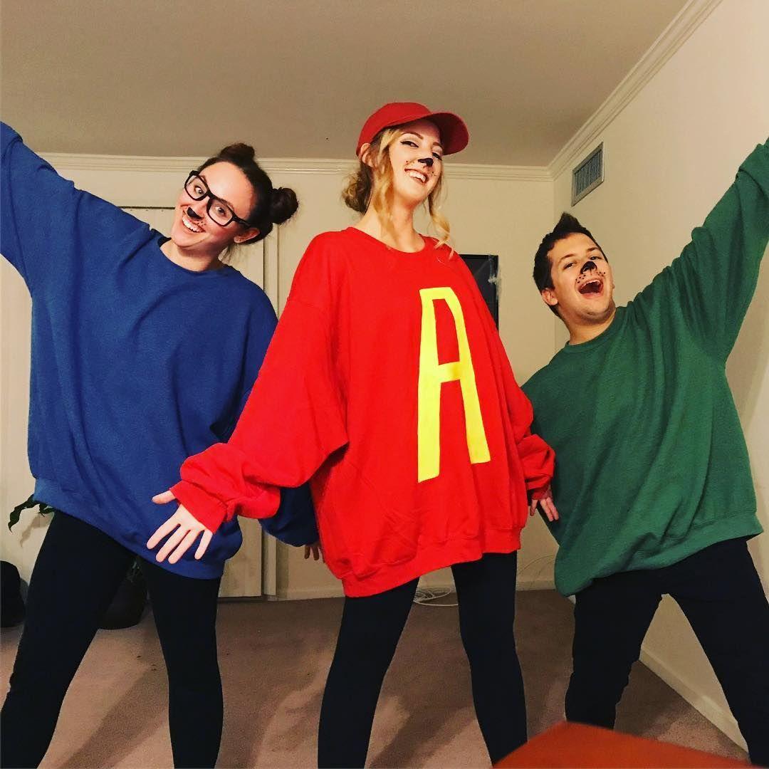 Diy Alvin And The Chipmunks Halloween Costume Idea Maskerix Com Cute Halloween Costumes Trio Halloween Costumes Teenage Halloween Costumes