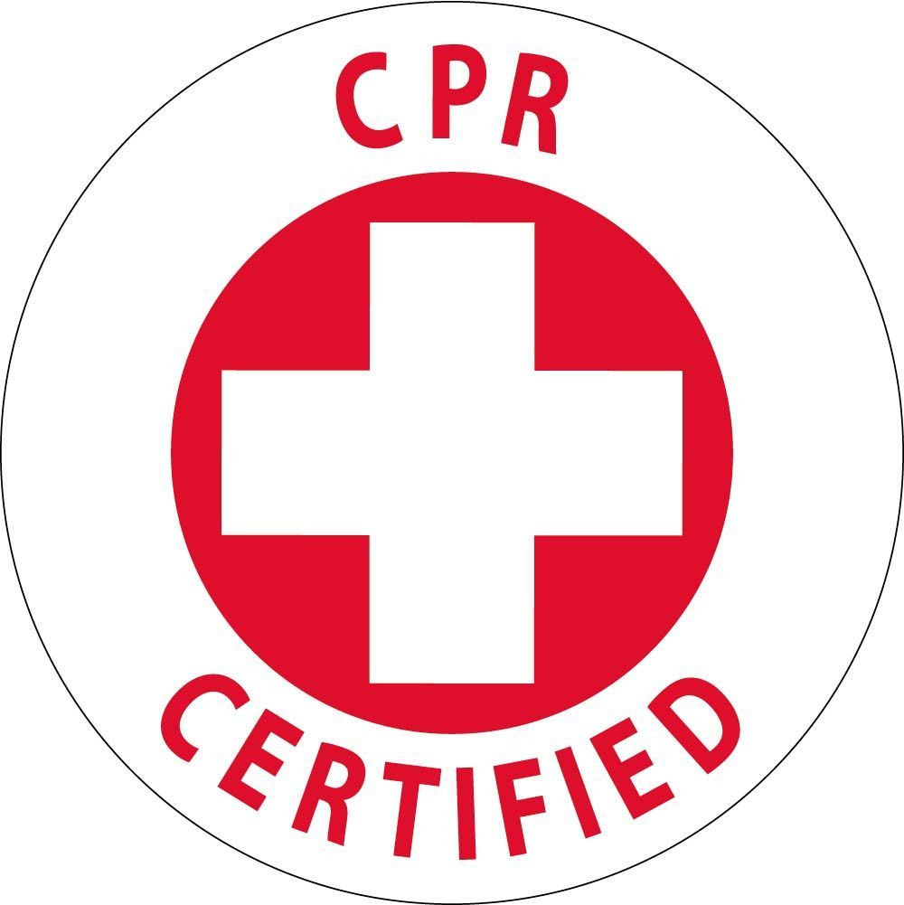 Cpr First Aid Certified And Trained With Graphic 2 Circle Reflective Pressure Sensitive Vinyl 25 Per Pack Cpr Cpr Training Yoga For Kids