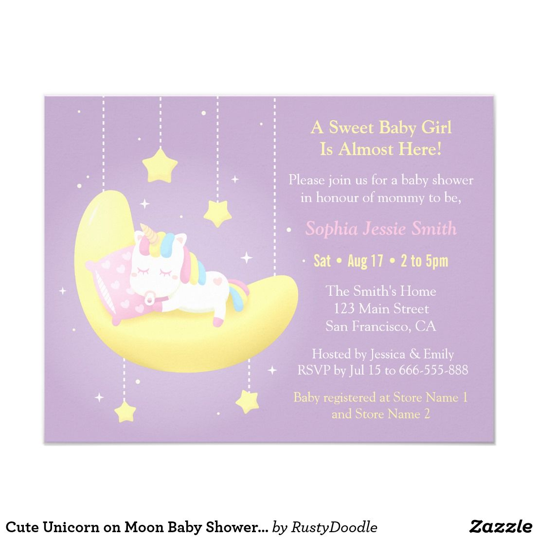 Cute Unicorn on Moon Baby Shower Invitations | Shower invitations