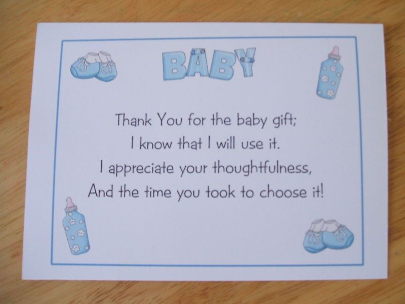 Baby Gift Thank You Wording From Baby : Baby shower thank you cards wording for family card