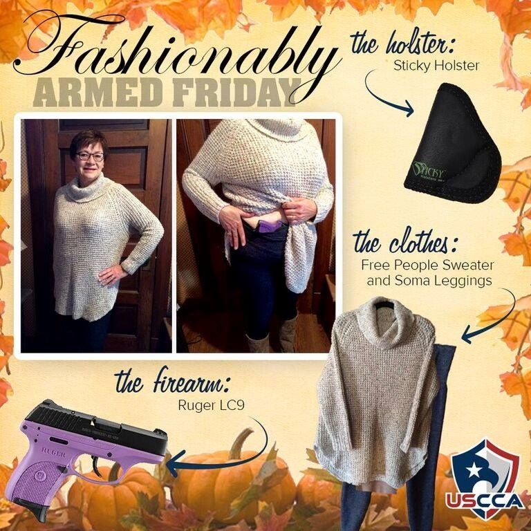 NRA Firearms Instructor, Kathy K. from Nebraska, conceals her firearm under a sweater with leggings. The best part...NO belt required! Sticky Holsters