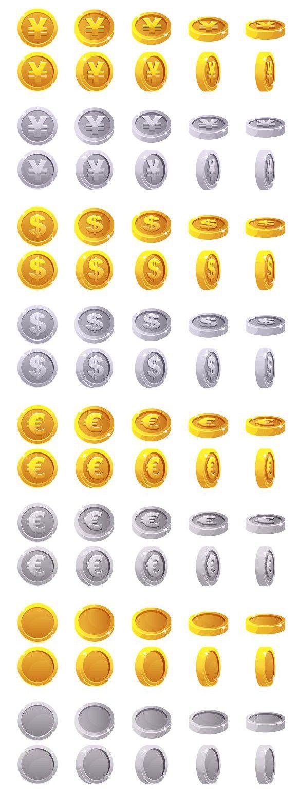 Set animation game rotation coins Coin icon, Coins, Coin