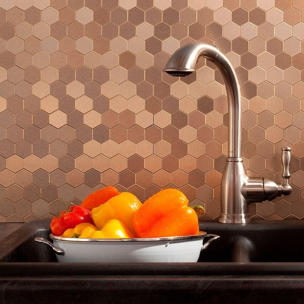 Aspect Honeycomb Matted 12 In X 4 In Metal Decorative Tile