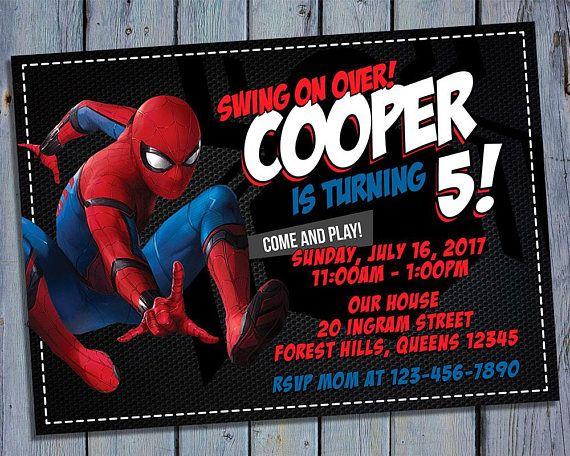 Spiderman Birthday Invitation Superhero Party Card Invite