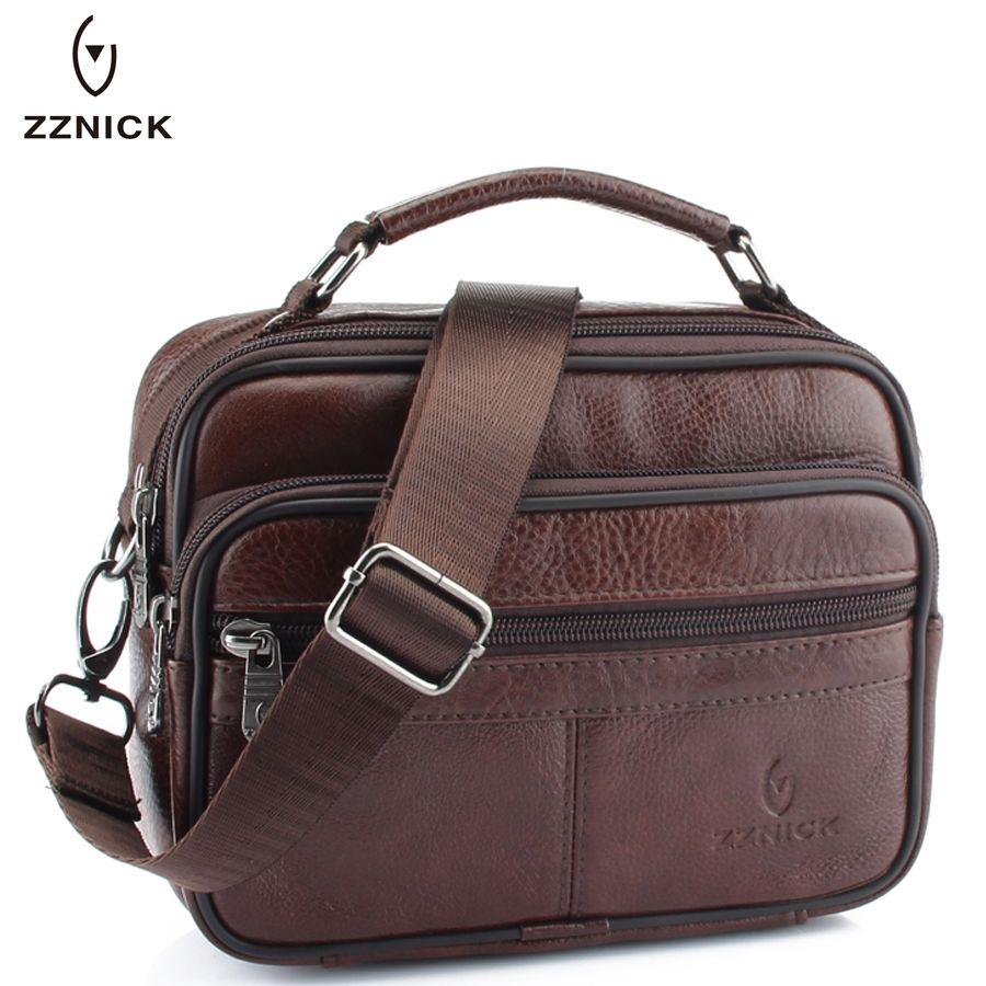 c69640256f ZZNICK 2017 Genuine Cowhide Leather Shoulder Bag Small Messenger Bags Men  Travel Crossbody Bag Handbags New