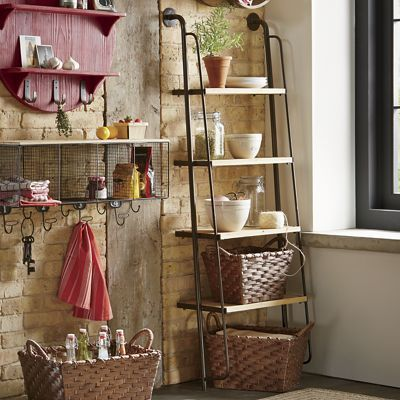 Leaning Shelf In The Warm Industrial Style From Countrydoor Com Ladder Shelf Shelves Home Decor Kitchen