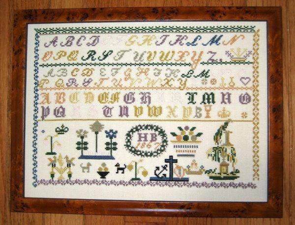 cross stitch samplers antique | HB 1867 Antique Sampler Reproduction cross stitch chart Samplers ...