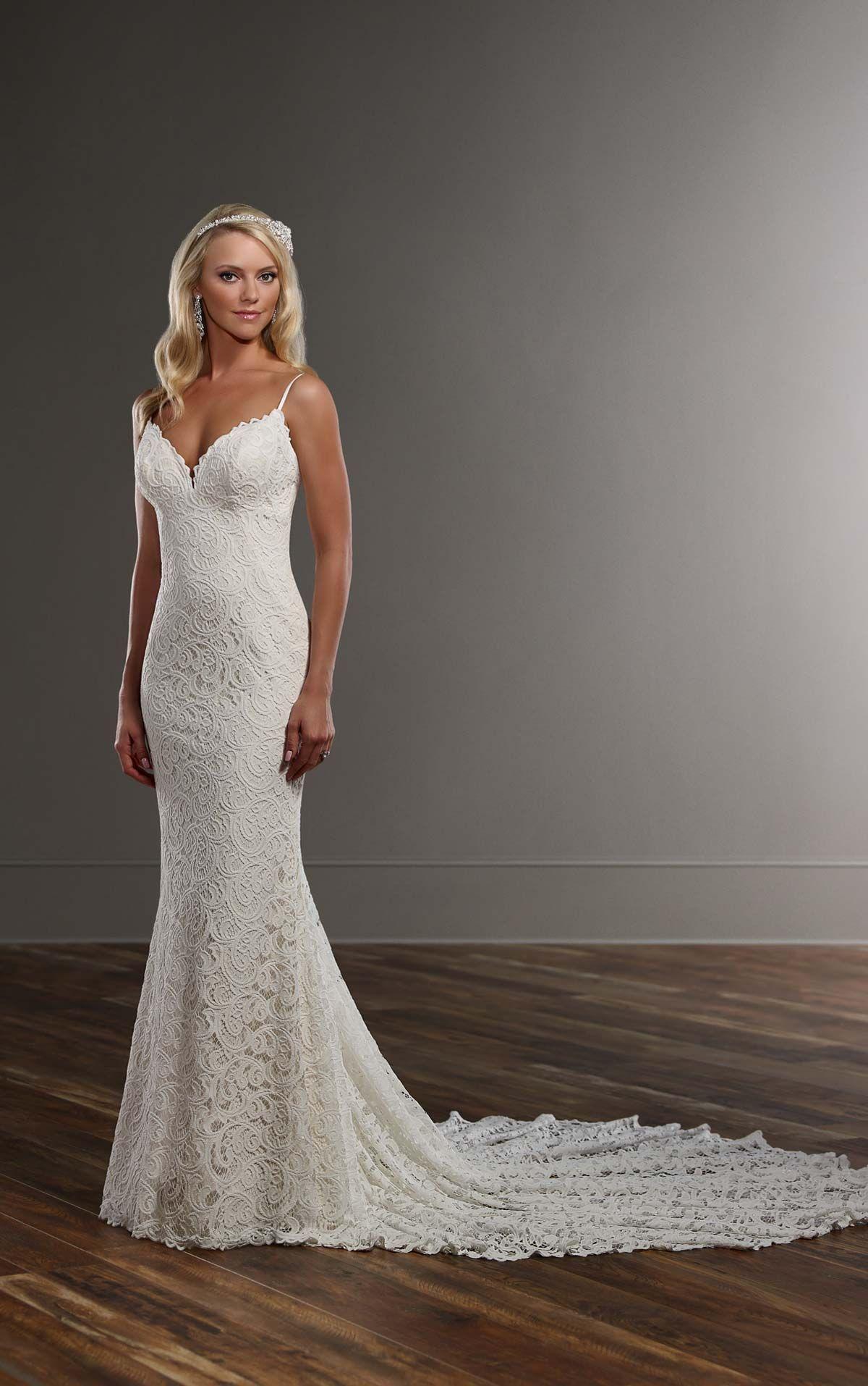 Graphic lace wedding dress with straps sleek wedding