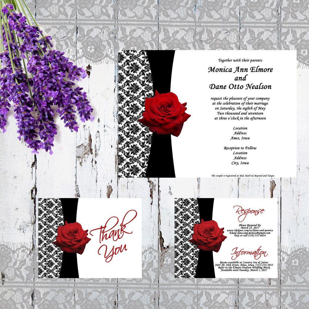 Formal Wedding Invitation Set - Black and White Formal Wedding w ...