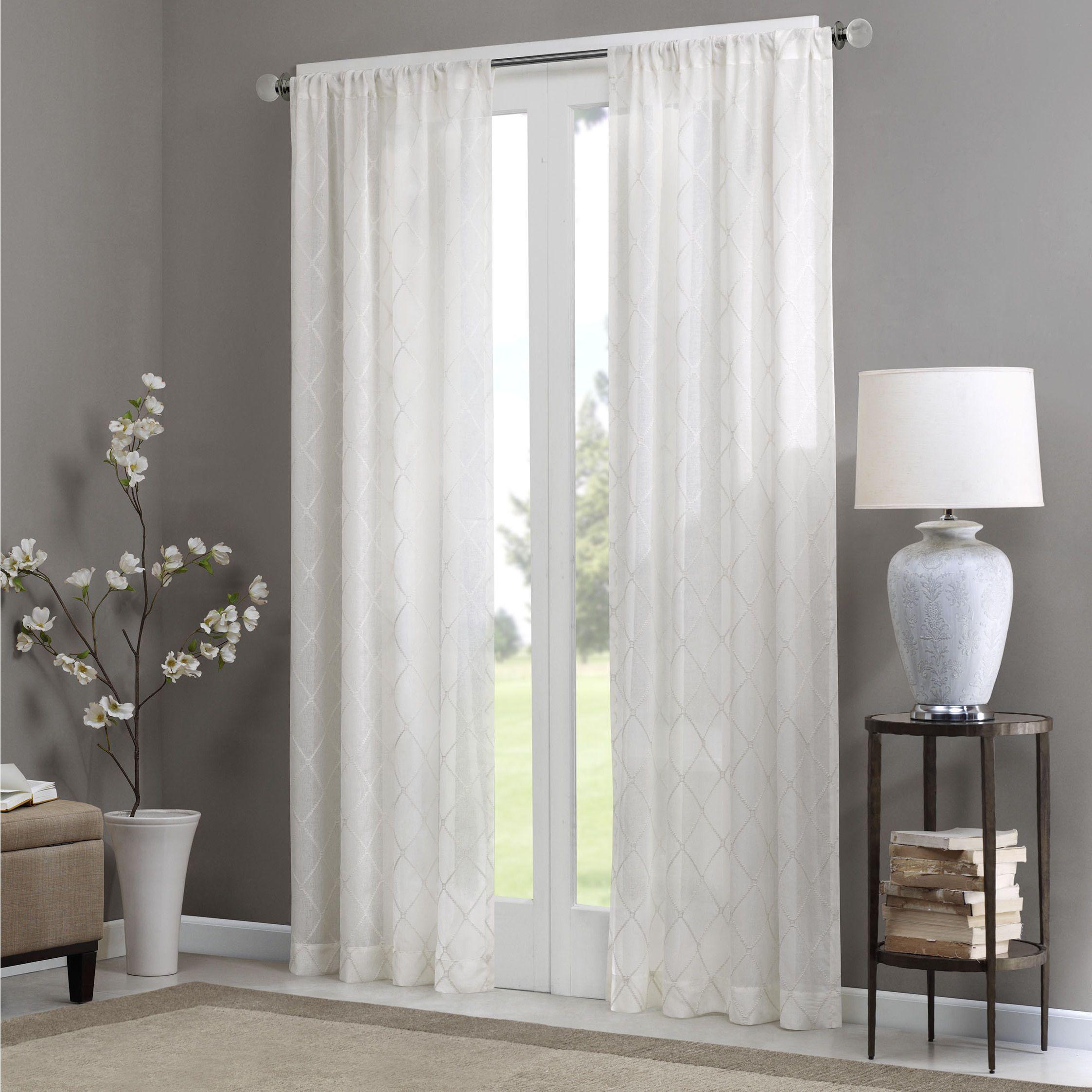 Madison Park Iris Diamond Sheer Curtain Panel