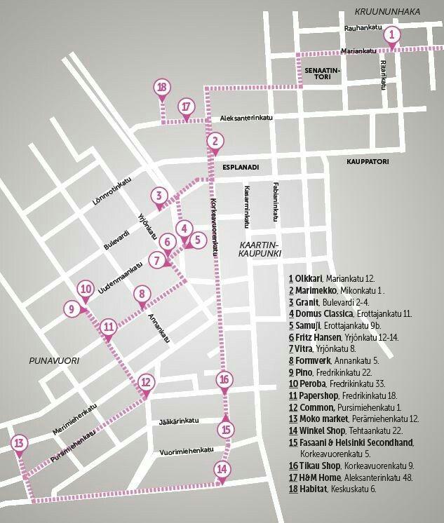 Helsinki Shopping Kartta Marimekko Kaupunki