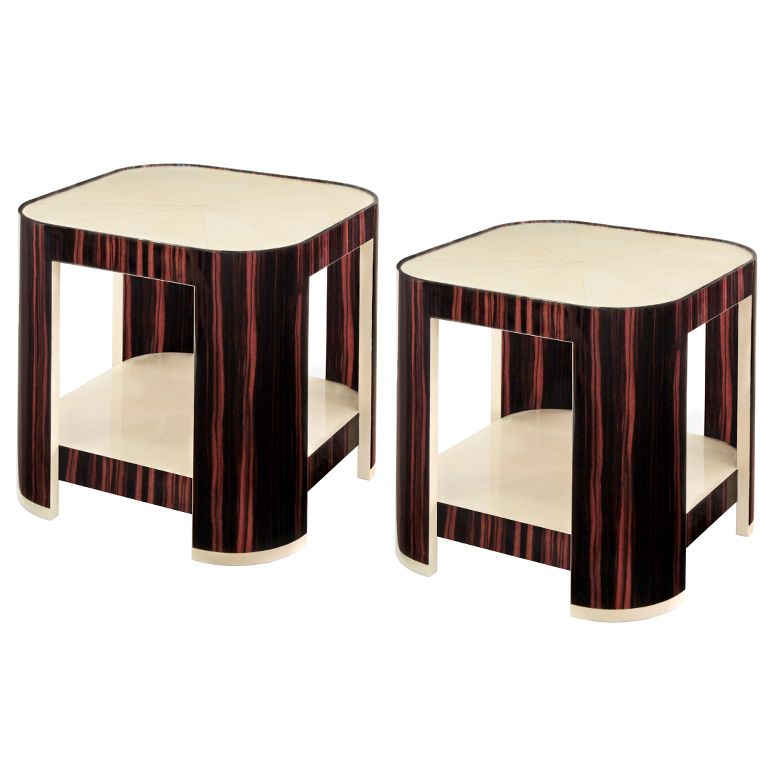 """Pair of """"Sun Star End Tables"""" by Evan Lobel for Lobel Originals  USA  2012  Pair of """"Sun Star End Tables"""" in mirror-lacquered macassar ebony with tops and shelves in radiating goatskin by Evan Lobel for Lobel Originals"""