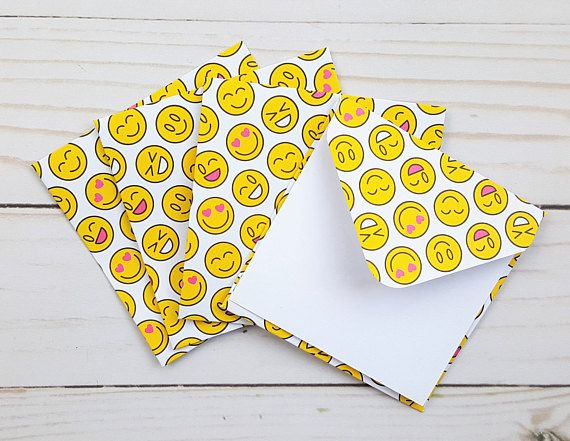 smiley face mini envelopes enclosure cards birthday note