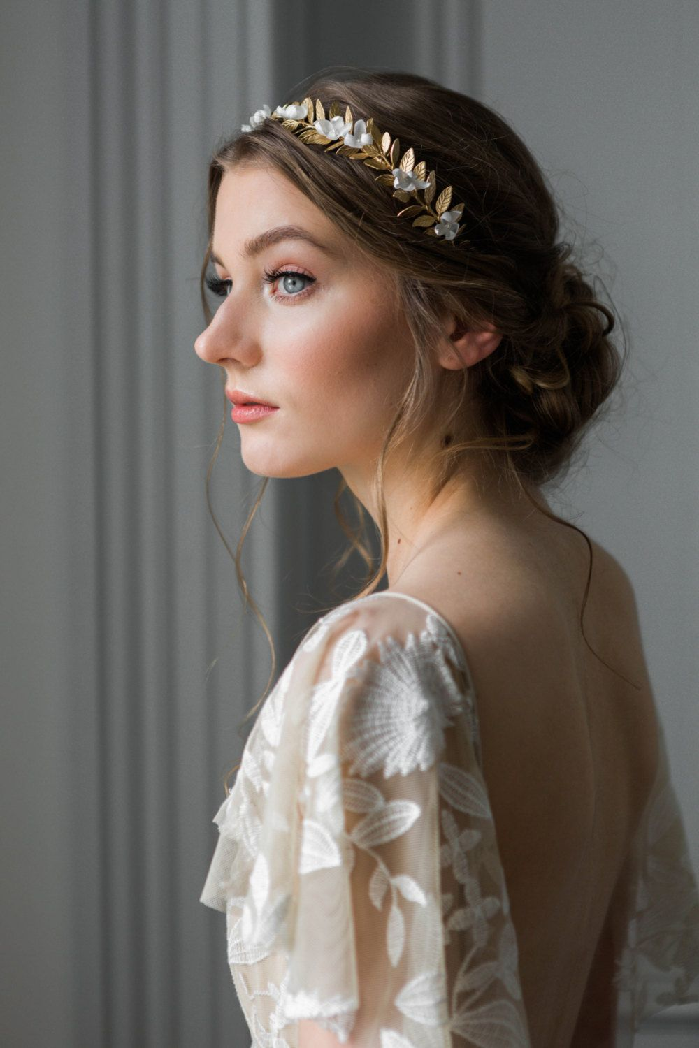 Goddess flower crown gold leaf headpiece bridal tiara gold tiara goddess flower crown classic and etherial this luxe metal flower crown adds a izmirmasajfo