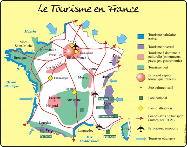 Les espaces touristiques fran ais french to learn for Lieux touristiques paris