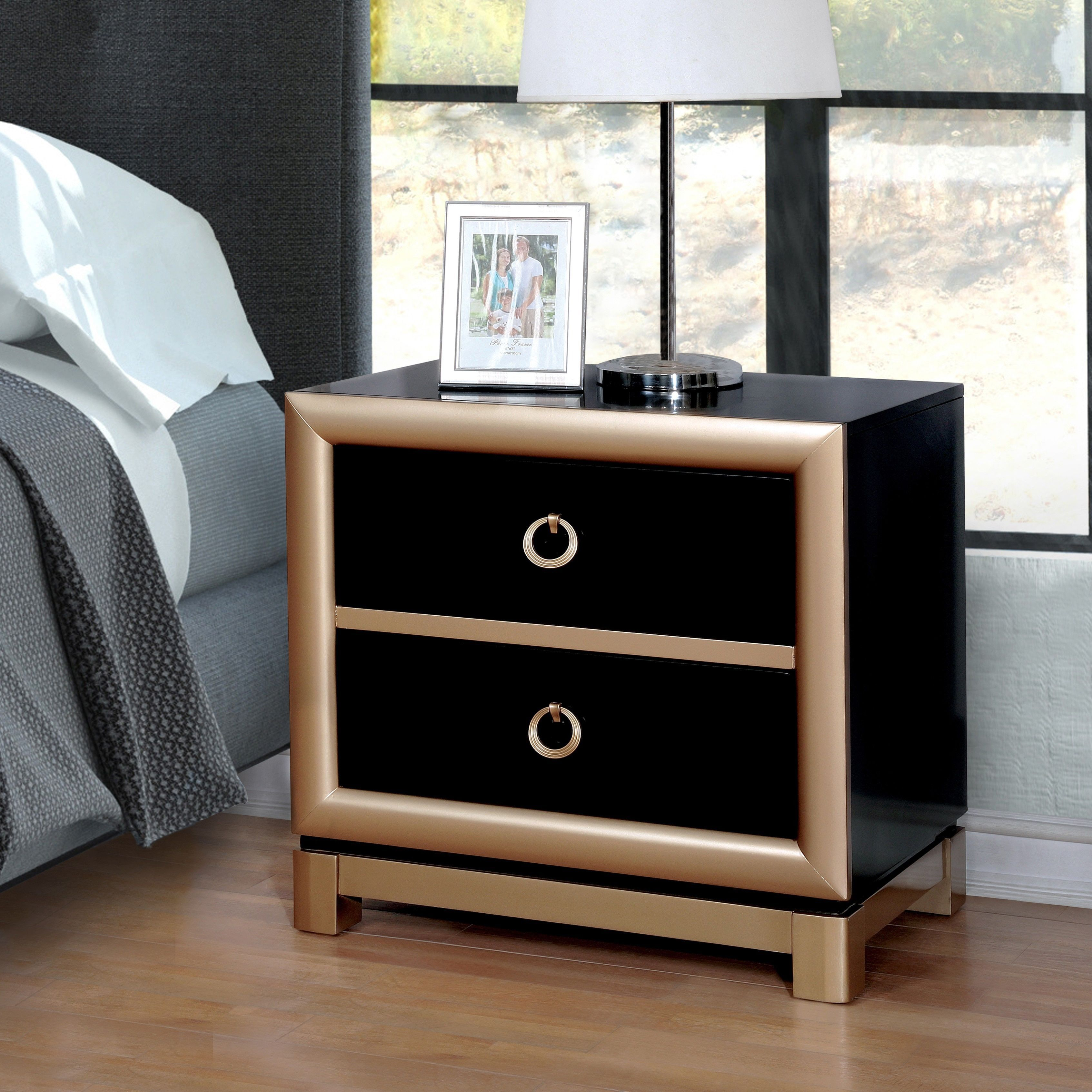 Black and gold furniture Bed Furniture Of America Lopex Contemporary Twotone Blackgold 3drawer Nightstand black Gold Size 2drawer veneer Pinterest Furniture Of America Lopex Contemporary Twotone Blackgold 3drawer