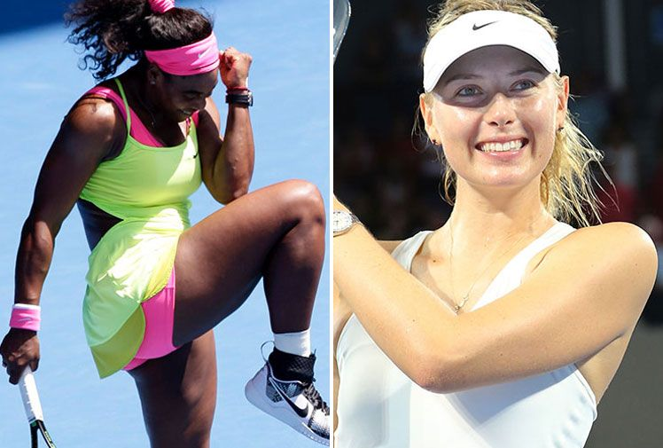 Serena Williams and Maria Sharapova fell down a list dominated by male athletes.