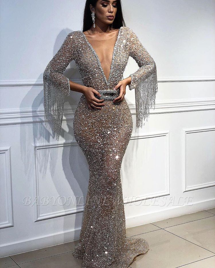 Sexy Mermaid Tulle Sequins Deep V-Neck 3 4 Sleeves Floor-Length Prom Dress  with Tassels  8dbb3e27c1