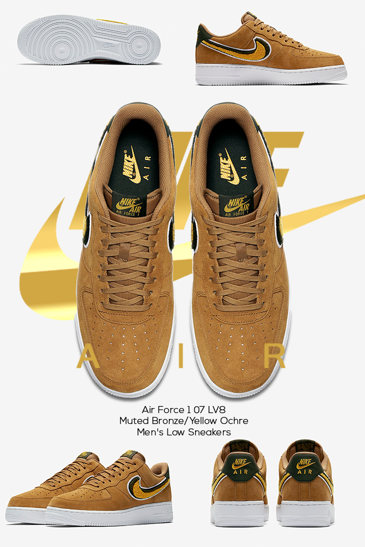 4dccd4c23346 Air Force 1 07 LV8 Muted Bronze Yellow Ochre Men s Low Sneakers