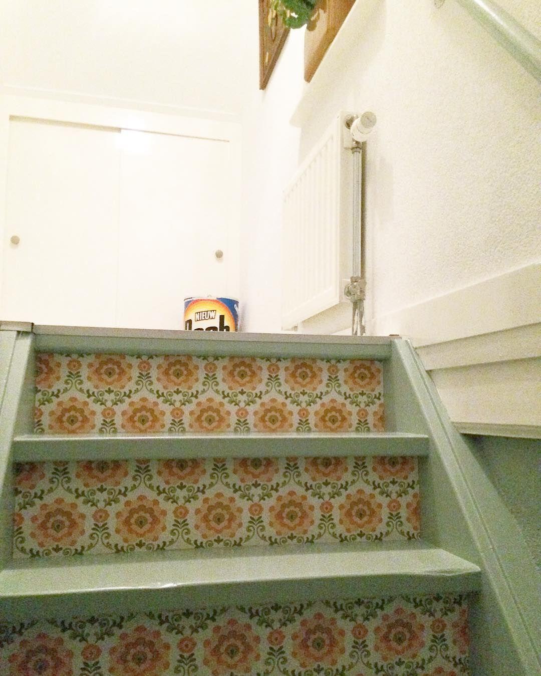 Hallway and stairs wallpaper  Nog  te gaan stairs trap hallway hallwaydecor behang