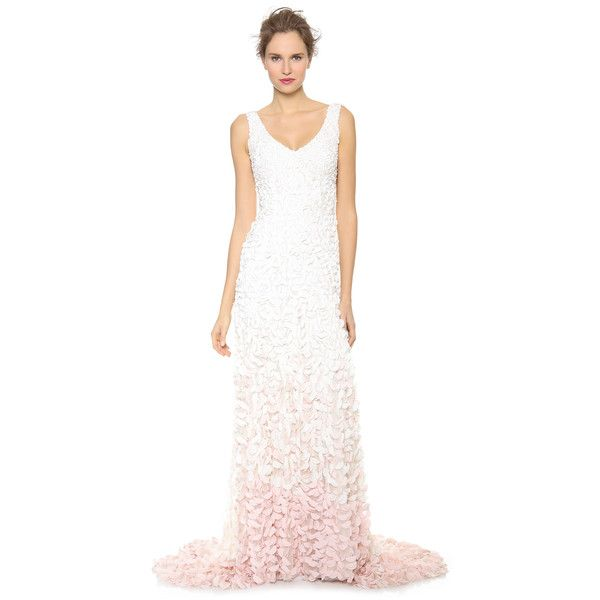 Theia Emma Embroidered Petal Gown ($1,270) ❤ liked on Polyvore ...