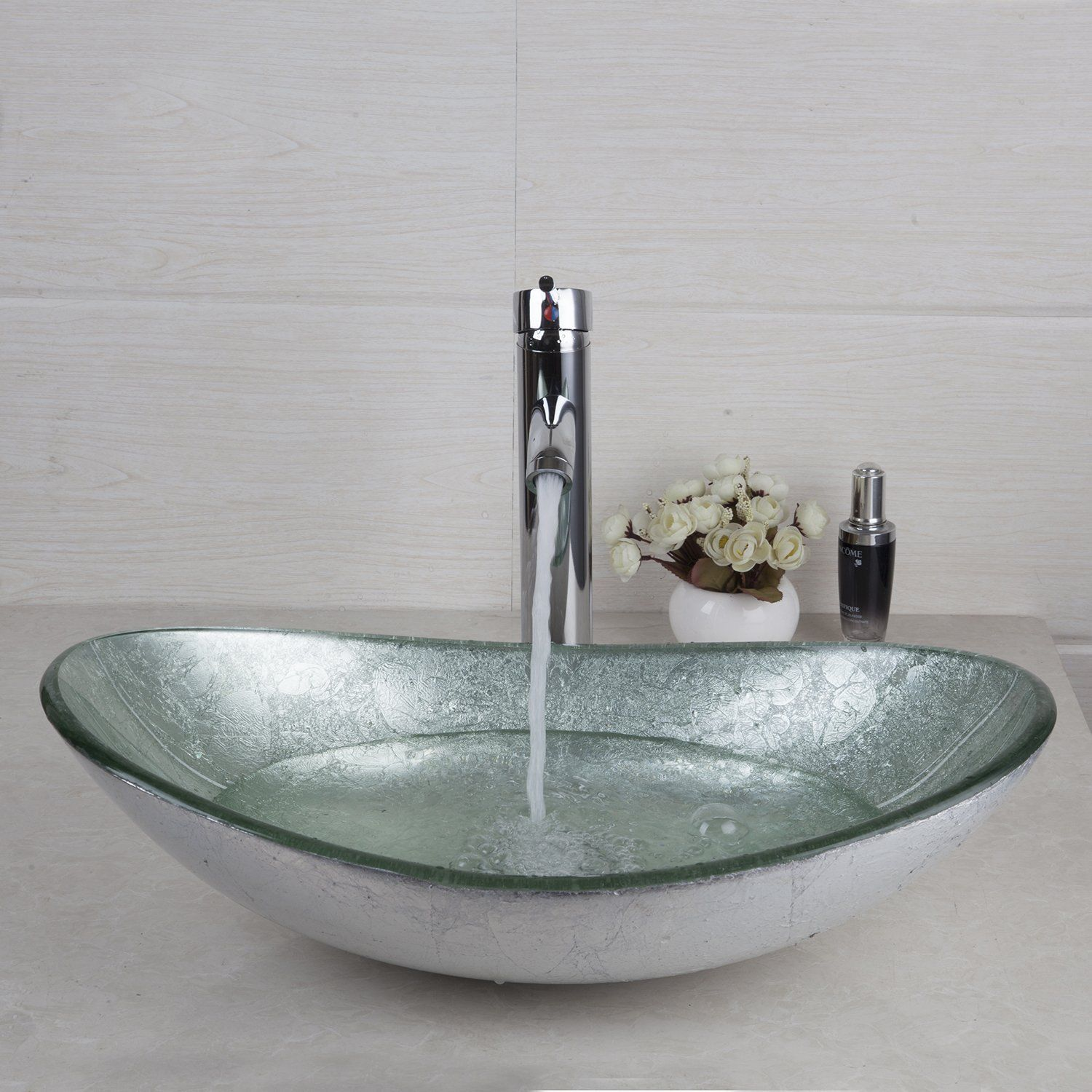 Silver Tempered Glass Bathroom Vessel Sink Bowl With Chrome Mixer