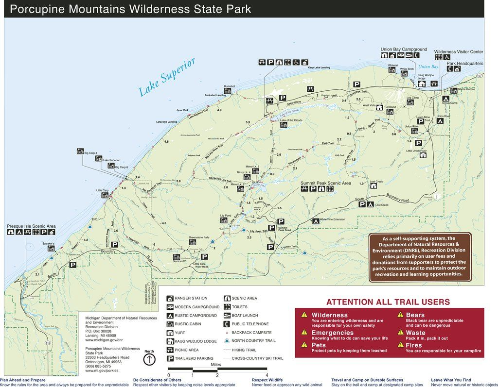 Porcupine Mountains State Park Map | Michigan\'s Upper Peninsula ...
