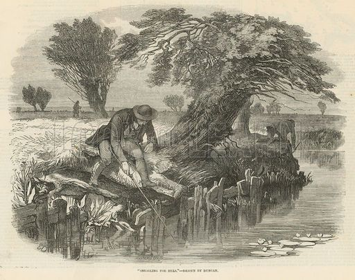Sniggling for eels on the River Lee. Published on 17 August 1850.
