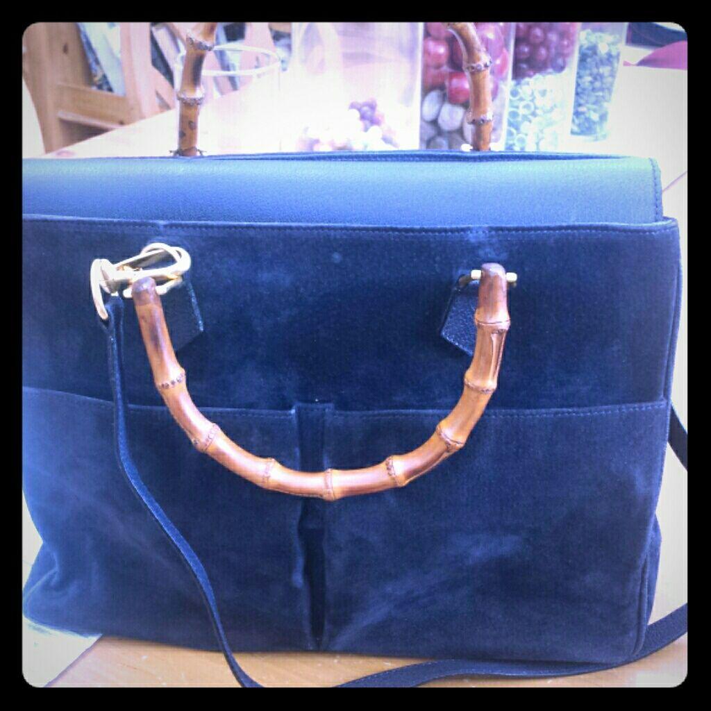 5a584c7225f Authentic Vintage Gucci Bamboo Suede Handbag