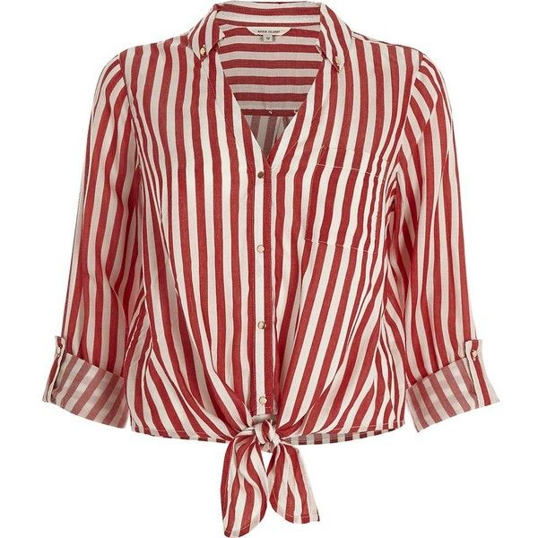 River Island Red stripe tie front shirt (430 NOK) ❤ liked on Polyvore featuring tops, blouses, shirts, red, tie front top, red striped top, snap shirt, red striped shirt and red shirt