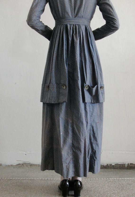 Antique 1800s Handmade Cotton Pioneer Prairie Dress