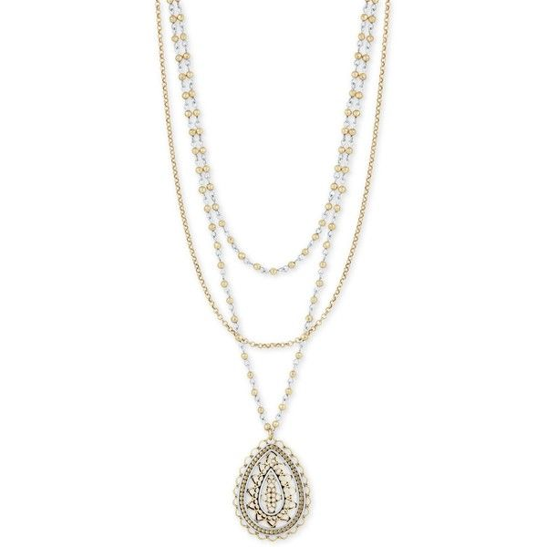a5c755910 Lucky Brand Two-Tone Triple-Layer Long Pendant Necklace ($49) ❤ liked on Polyvore  featuring jewelry, necklaces, triple layer necklace, double layer ...