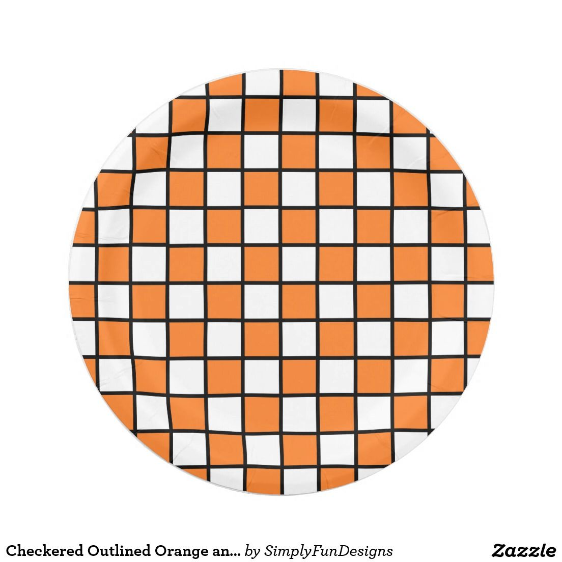 Checkered Outlined Orange and Black Paper Plate  sc 1 st  Pinterest & Checkered Outlined Orange and Black Paper Plate | Pinterest | Black ...