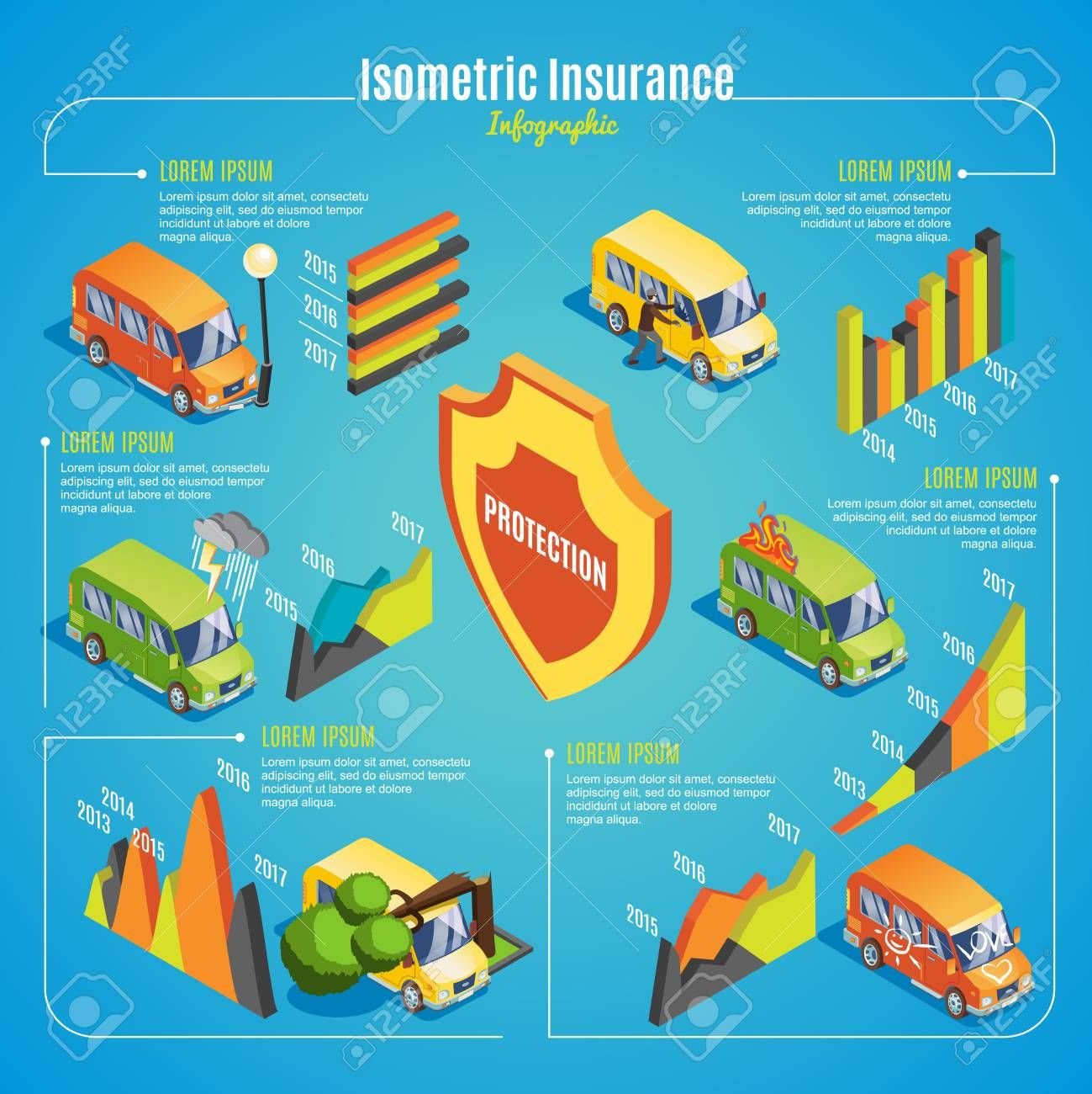 Isometric Car Insurance Infographic Concept With Protection From