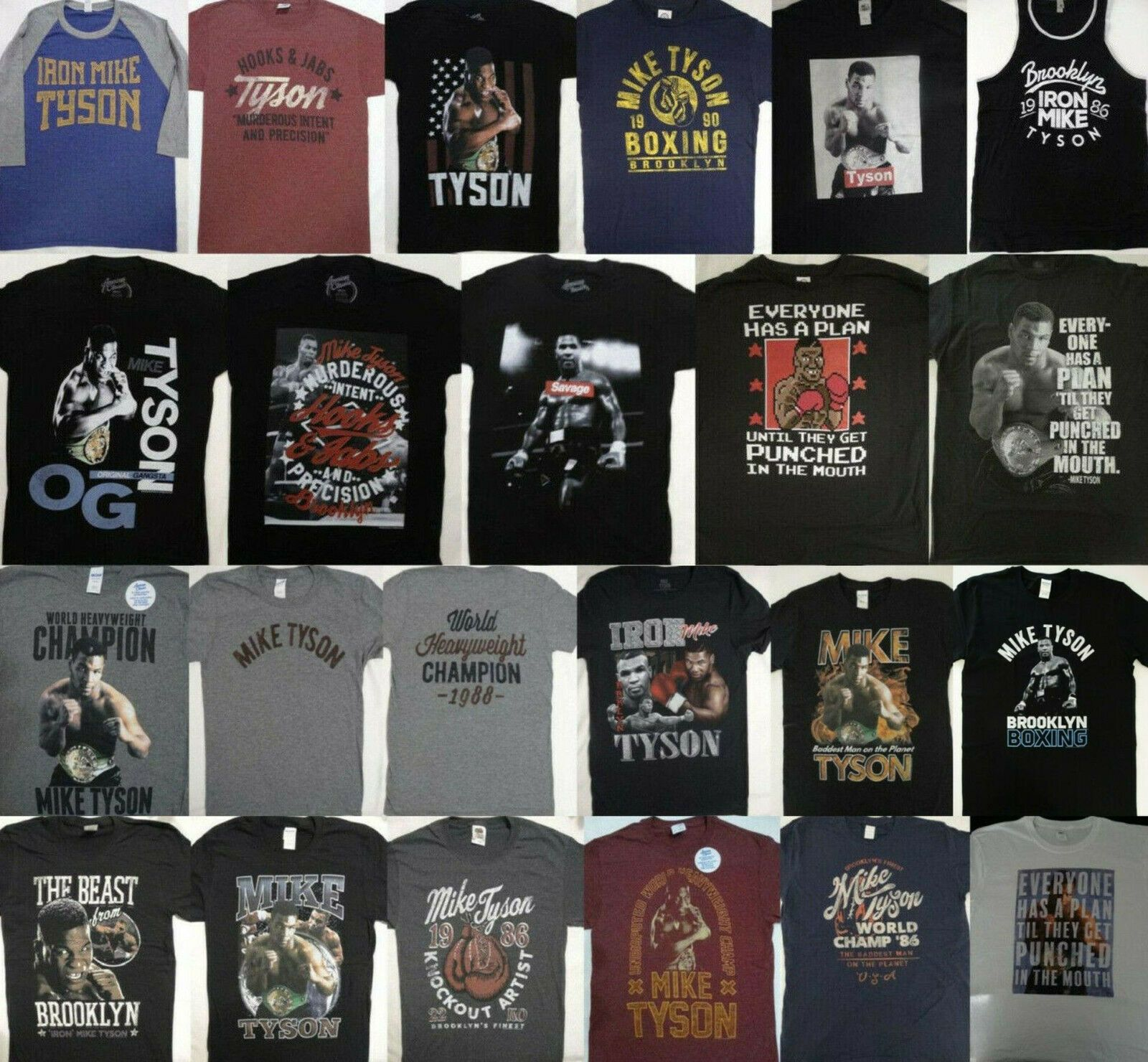 Mens Official Mike Tyson Plan Boxing T Shirt Heavy Weight Word Champion NEW