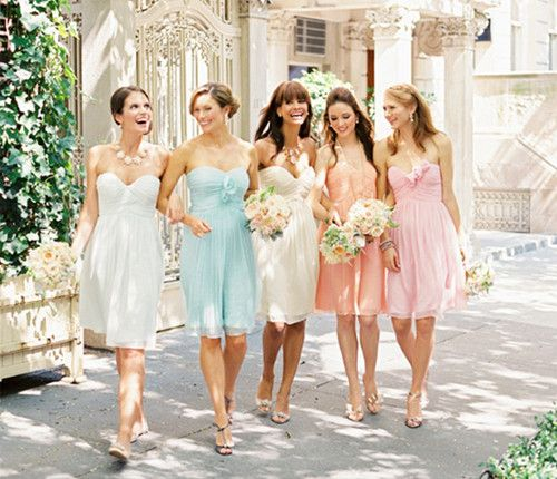 Pastel colored dresses for bridesmaids