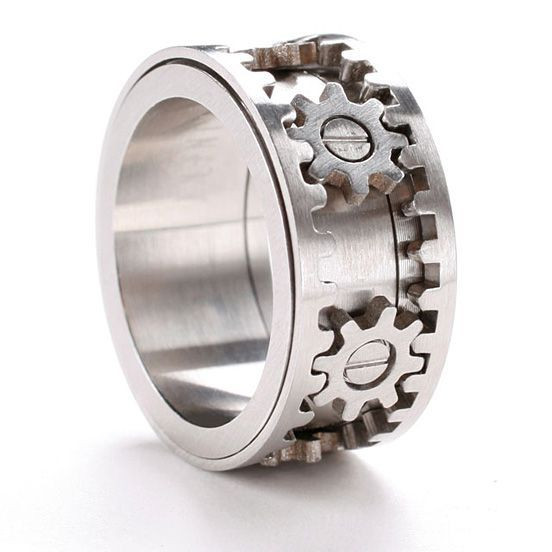 Mens Wedding Ring With Gears Which Blow Their Mind 2015 Wedding Stylish Rings Gear Ring