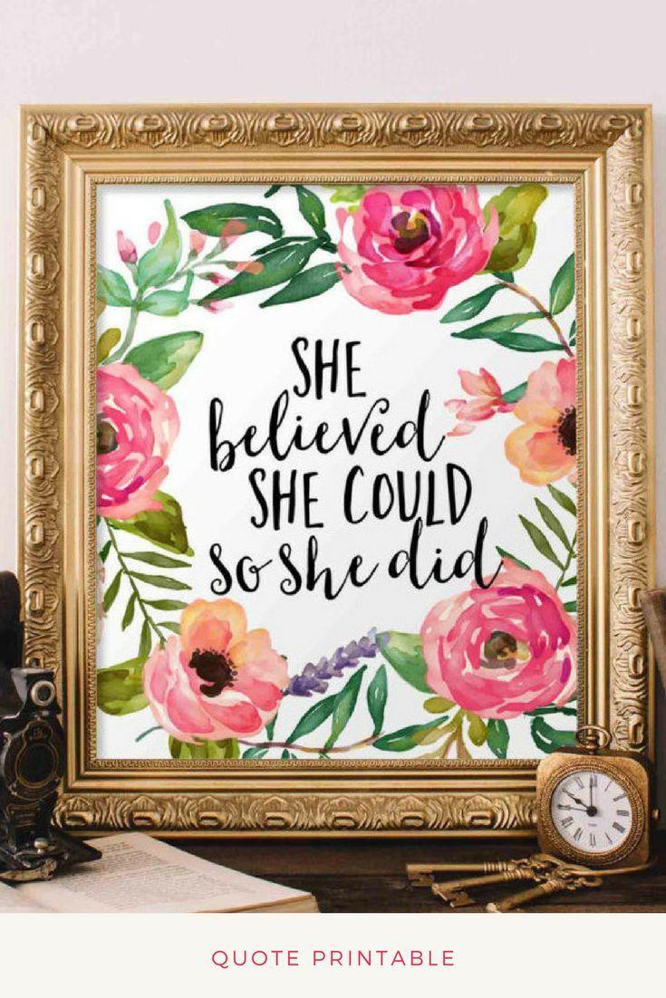 She believed she could so she did printable wall art digital art diy