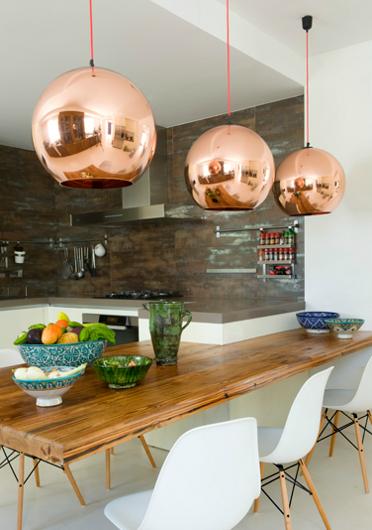 Copper hanging lights