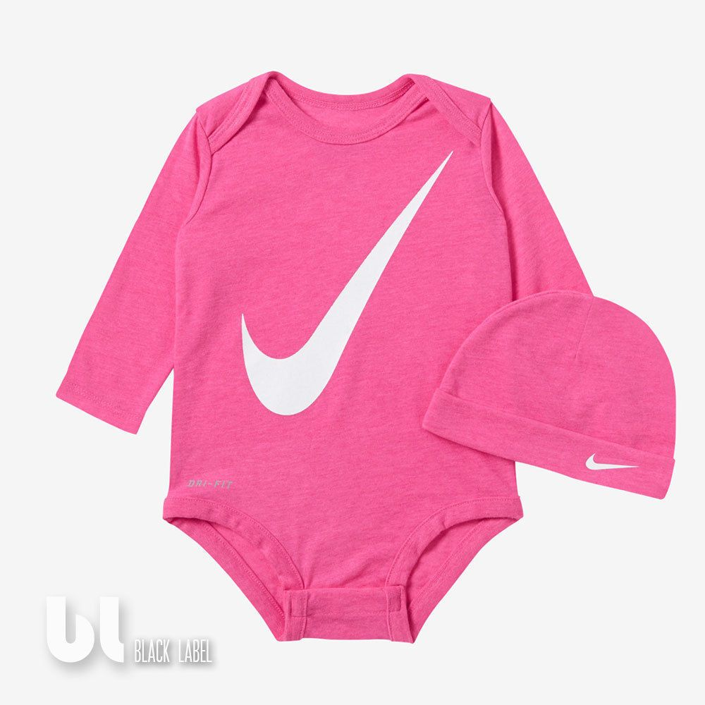nike dri fit neugeborenen set 2 teiler baby body m tze m dchen geschenkset pink in kleidung. Black Bedroom Furniture Sets. Home Design Ideas
