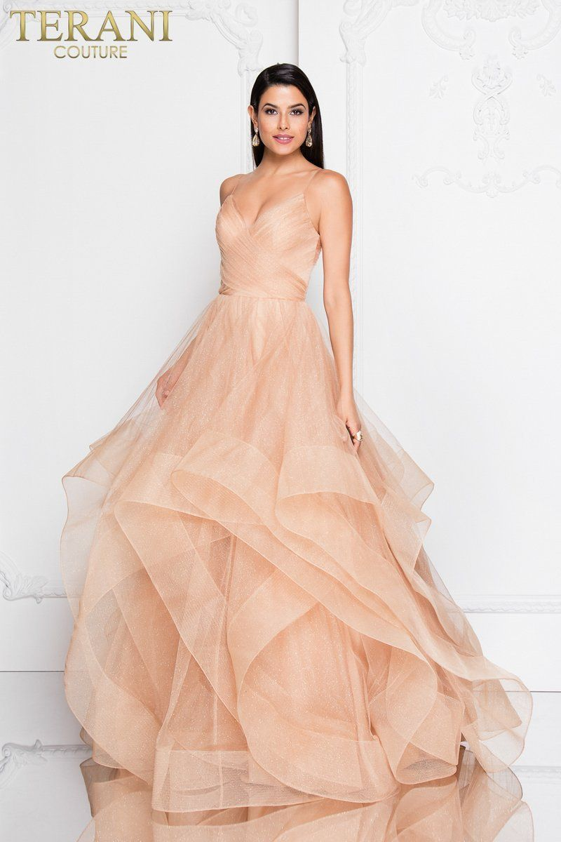 a17bce69eab 1811P5849 This Terani Couture Long Tulle Ball Gown features spaghetti  straps with trimmed glitter tulle. Available for Pre Order