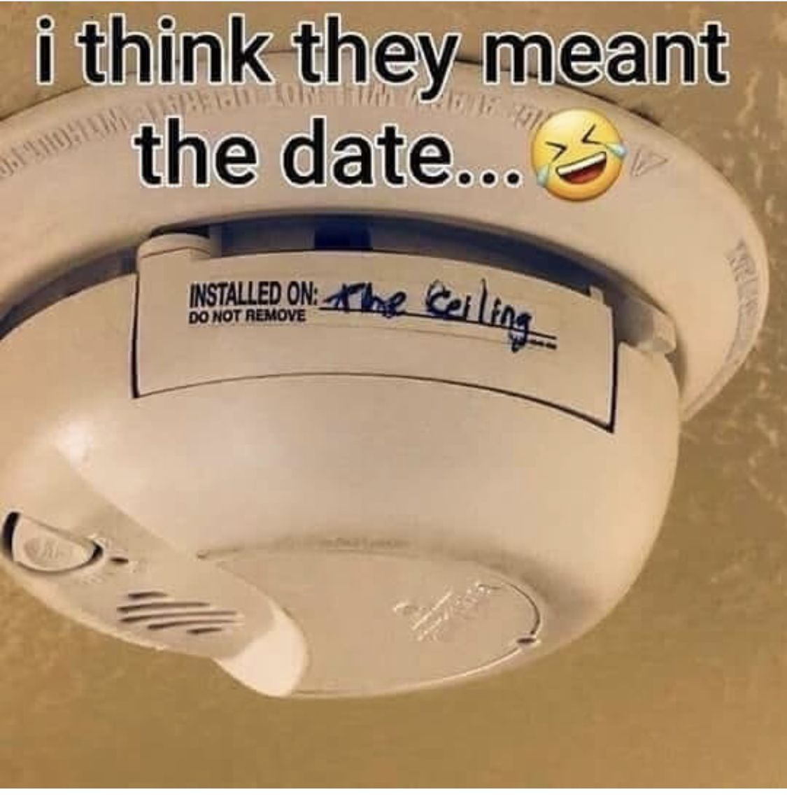 I Think They Meant The Date Smoke Detector Installed On The Ceiling Funny Jokes Funny Pictures Funny Memes