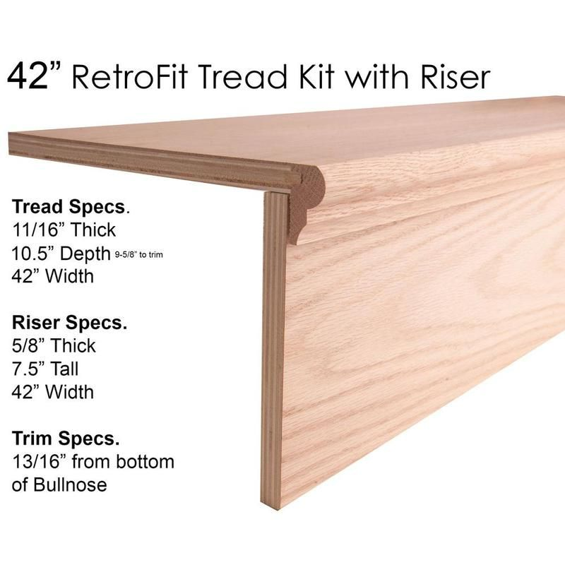 42″ Retrofit Tread Kit With Riser Wood Tread House Of Forgings | Wood Treads And Risers | Custom | Metal | Reclaimed Wood | Diy | Mahogany