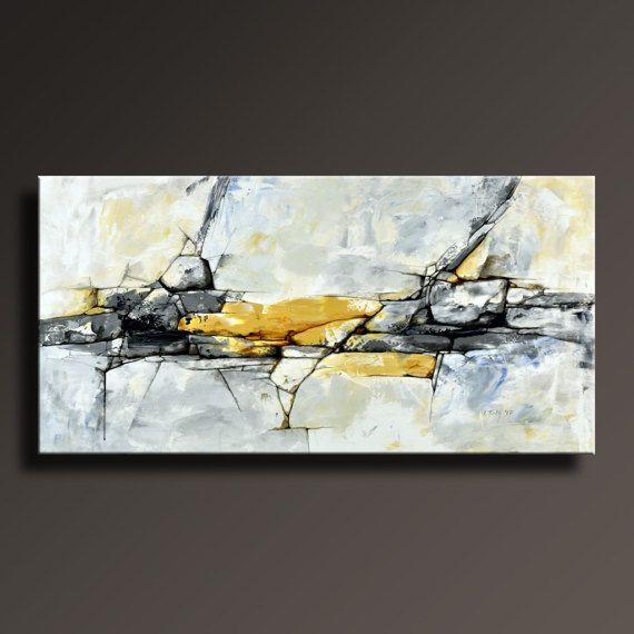 urspr nglichen abstrakten malerei schwarz wei gelb grau blau kunst pinterest abstrakte. Black Bedroom Furniture Sets. Home Design Ideas