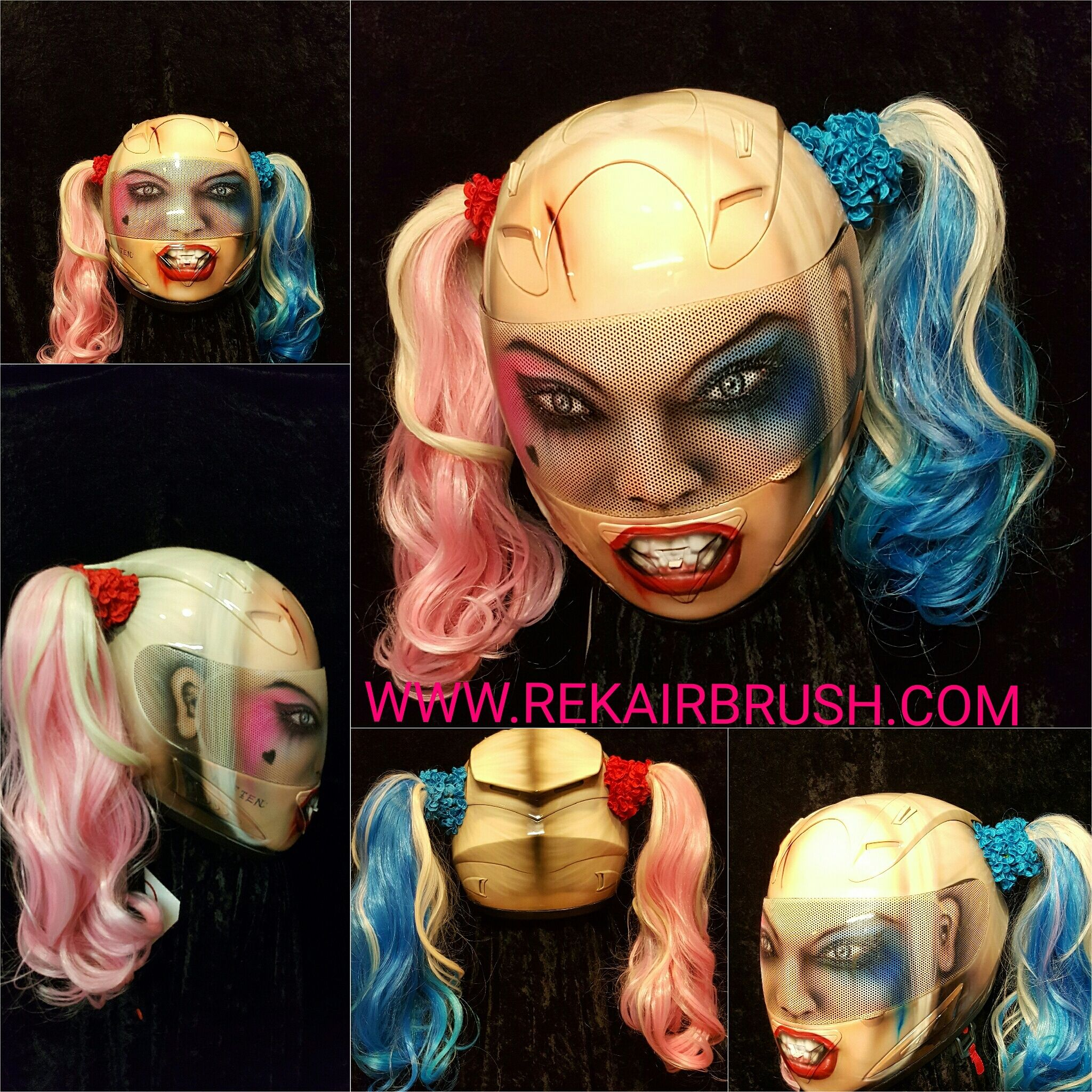 Airbrushed Harley Quinn Motorcyclce Helmet With Pigtails From Www