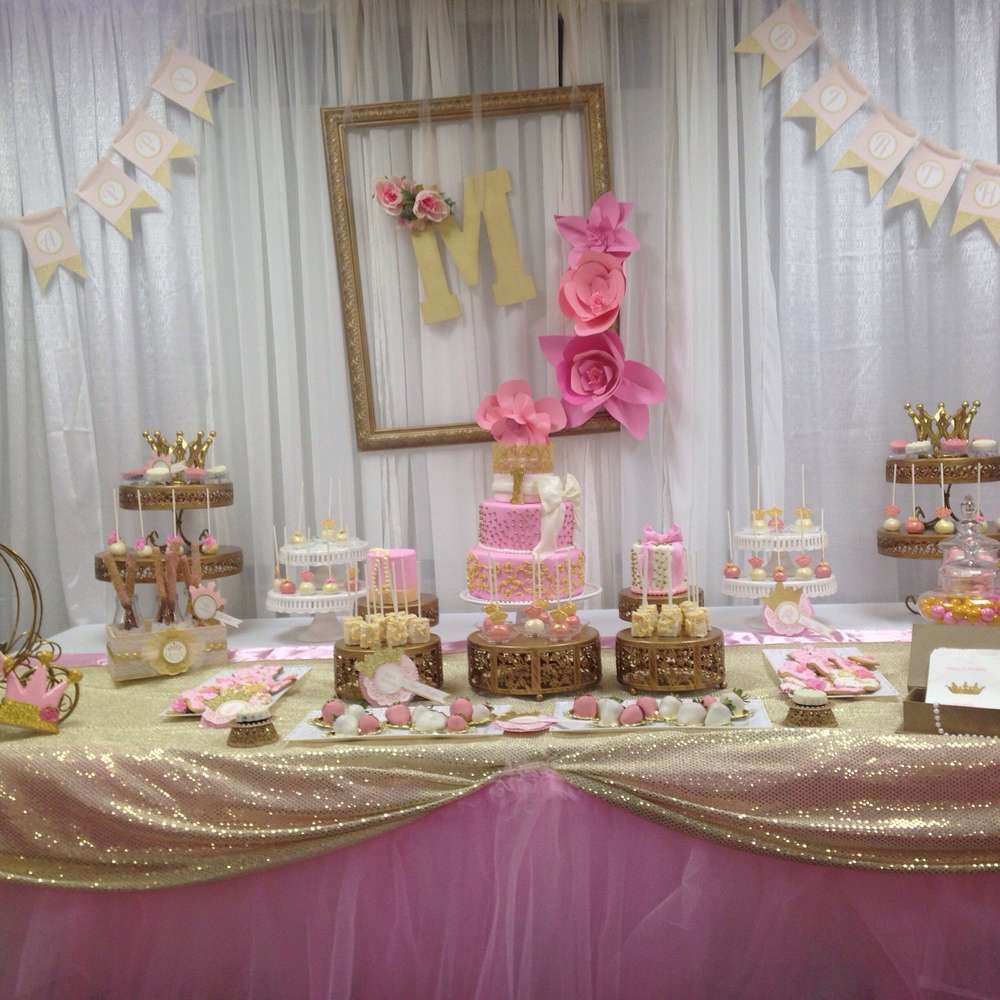 pretty dessert table at a pink and gold princess birthday party see more party ideas